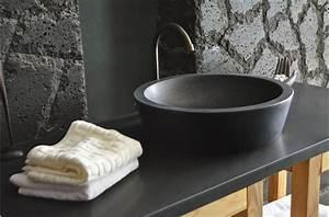 Nettoyage Marbre Tres Sale : vasque en pierre ronde leaf shadow en granit noir tr s ~ Melissatoandfro.com Idées de Décoration