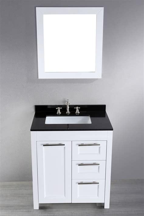 30 Inch White Contemporary Single Bathroom Vanity Black
