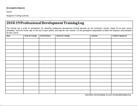 professional development training log word excel templates