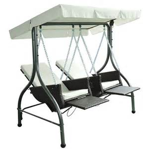 Deep Seat Patio Chair Cushions by Outsunny Rattan Double Swing Recliner Chairs With Canopy