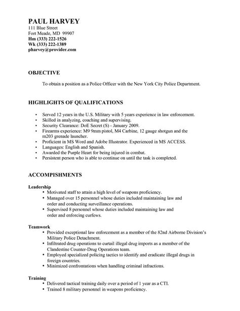 17 best ideas about officer resume on