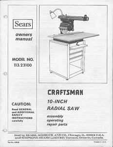 1975 Craftsman 113 23100 10 U0026quot  Radial Arm Saw  Feb 1975