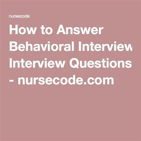 how to answer behavioral questions