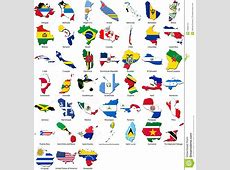 World Flags Country Border American Set Stock Image