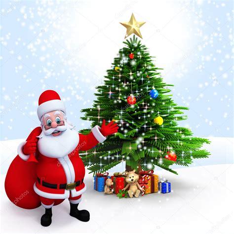 photo of santa claus and christmas tree santa claus pointing to a tree stock photo 169 pixdesign123 8202862