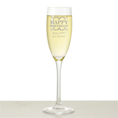 personalised happy birthday champagne flute