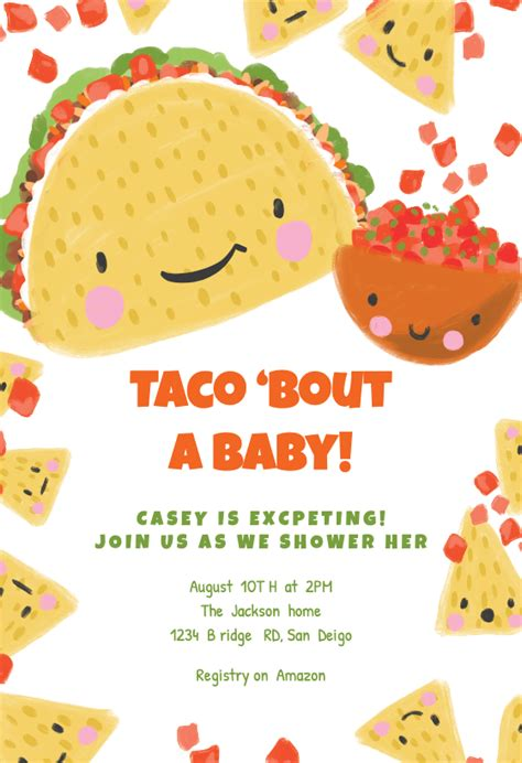 taco bout baby shower invitation template
