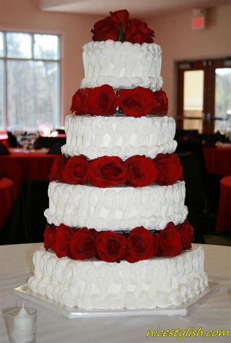 Cake Place Red And White Tier Wedding Cake
