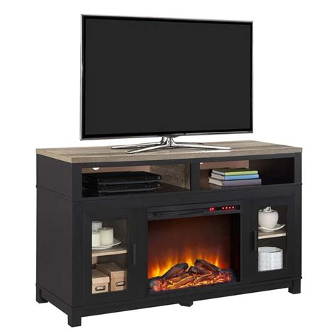 black electric fireplace tv stand electric fireplace tv stand in black 1774196com