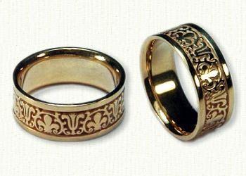 14kt yellow gold cornice designed wedding bands