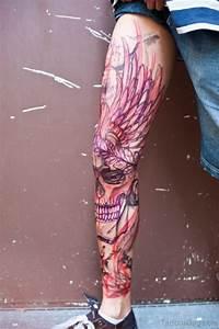 Angry Skull Designs 51 Brilliant Skull Tattoos For Leg