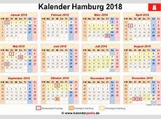 Kalender 2018 Hamburg Ferien, Feiertage, ExcelVorlagen