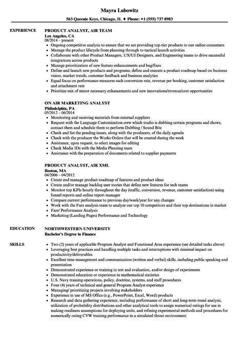 Air Resume by Air Analyst Resume Sles Velvet