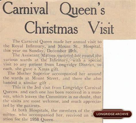 carnival queen s christmas visit 1957 newspaper article longridge town archive