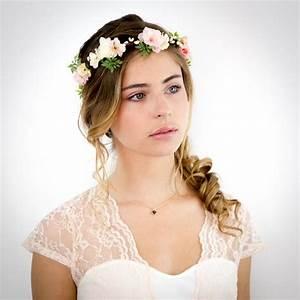 Couronne De Fleurs Cheveux Mariage : couronne de fleurs p che rose et ivoire appoline accessoire cheveux mariage coiffures ~ Farleysfitness.com Idées de Décoration