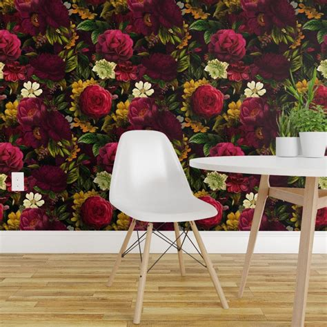 Victorian Botanical Wallpaper Moody Floral by utart