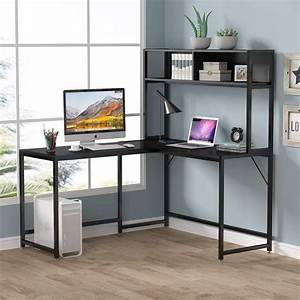Tribesigns, 55, Inch, L, Shaped, Computer, Desk, With, Hutch, Space
