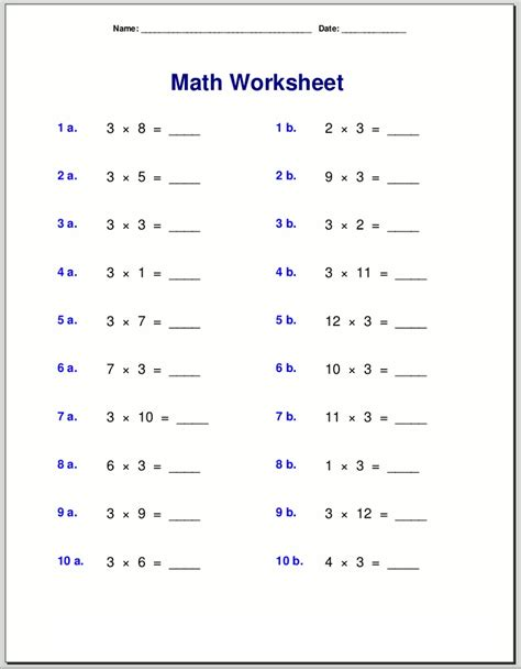 easy  simple  times table worksheets activity shelter