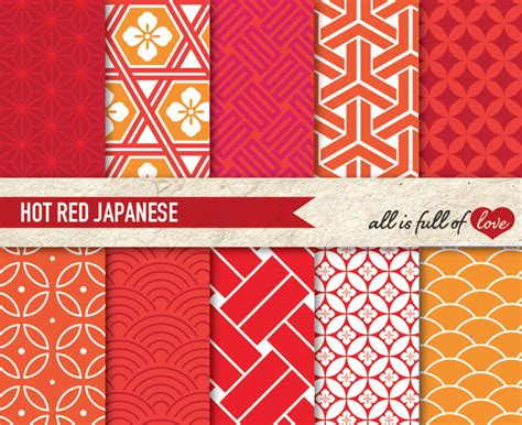 patterns red hot japan illustrations graphic patterns