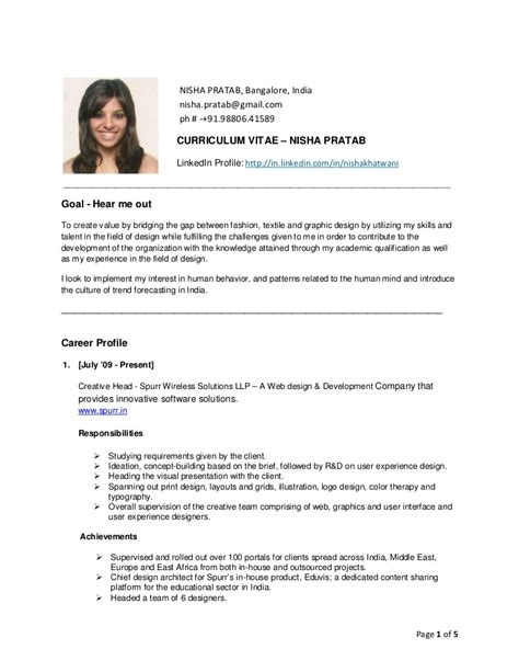 resume format for the post of cabin crew nisha pratab resume