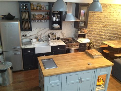 freestanding island for kitchen raj s kitchen with belfast sink black wall and base units with island the olive branch