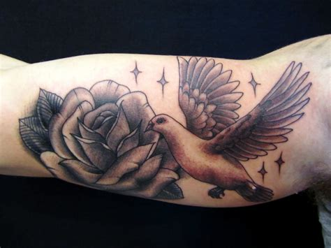 dove  rose arm tattoojpg