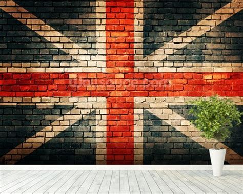 Union Jack on Old Brick Wallpaper Wall Mural