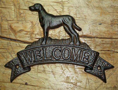 Cast Iron Dogs Welcome Plaque Sign Rustic Ranch Wall Decor