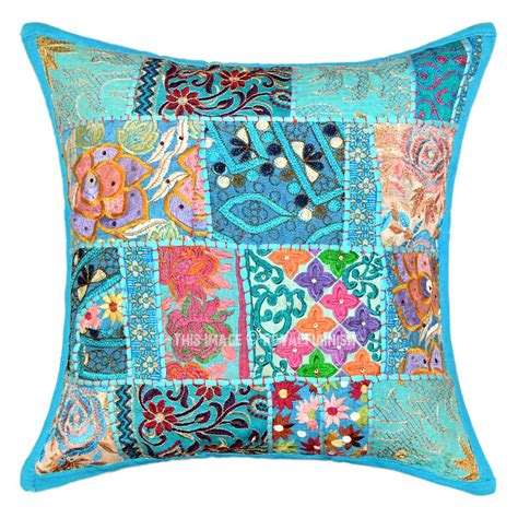 accent pillow covers 18x18 turquoise blue one of a boho accent throw