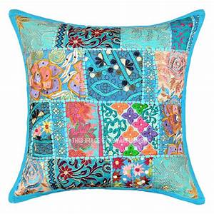 18x18, Turquoise, Blue, One-of-a-kind, Boho, Accent, Throw, Pillow, Cover
