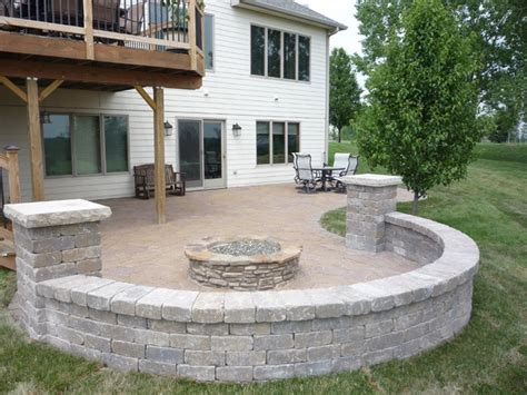 patio seat wall design grimes paver patio seat wall with pillars and gas burning fire pit