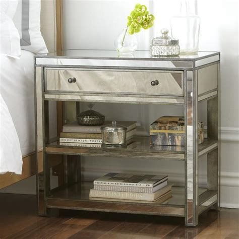 mirrored side ambrose silver mirrored side table