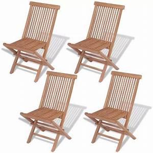 Chaise Pliante Exterieur : vidaxl chaise pliante d 39 ext rieur 4 pi ces teck massif ~ Teatrodelosmanantiales.com Idées de Décoration