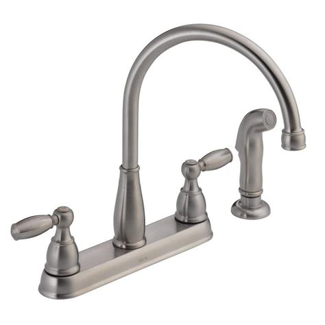 delta kitchen faucet sprayer delta foundations 2 handle standard kitchen faucet with