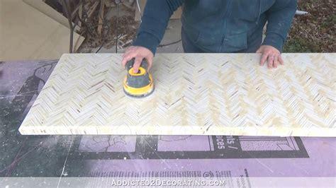 diy edge grain plywood herringbone coffee table addicted