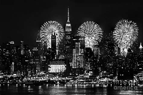 july black and white nyc july 4th fireworks black and white photograph by