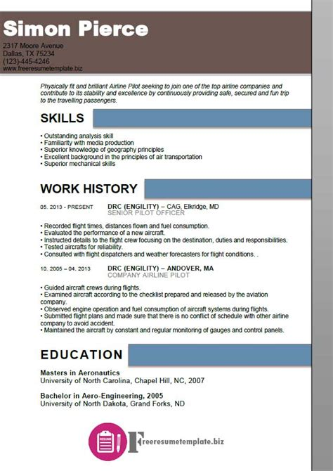 Airline Resume by Airline Pilot Resume Template Free Resume Templates