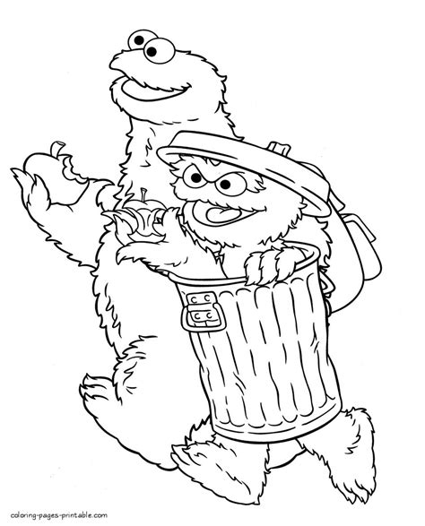 cookie monster  oscar  grouch picture coloring pages printablecom