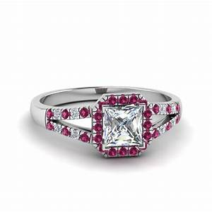 Halo princess cut diamond split shank engagement ring with for Princess cut pink diamond wedding rings