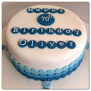 Blue male birthday cake featuring ombré spots www.facebook ...