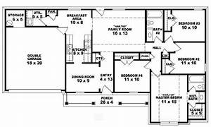 4 bedroom one story ranch house plans inside 4 bedroom 2 for One floor 4 bedroom house blueprints