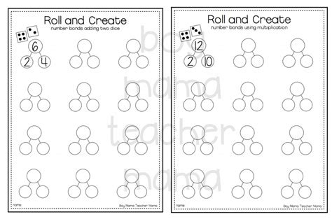 Free Roll And Create Number Bonds Printable