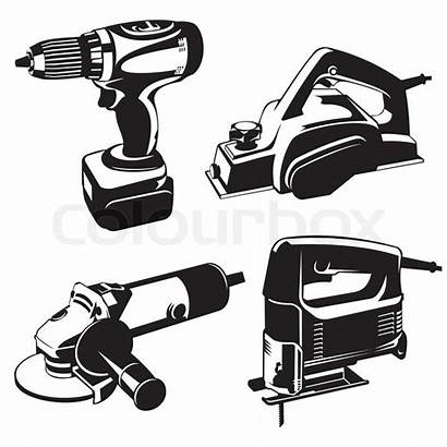 Power Tools Vector Tool Clip Stencil Illustration