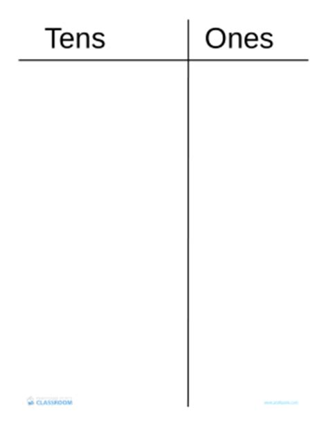 Professor Pete's Classroom » Tens & Ones Place Value Chart  Professor Pete's Classroom