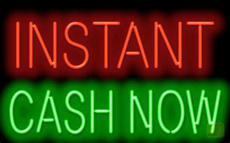 instant cash  neon sign  flashing instant fs