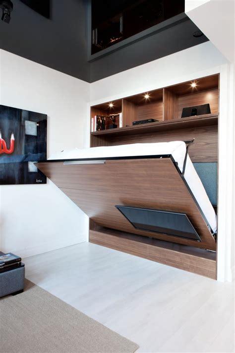 lit mezzanine canapé unité tv mural dissimule lit escamotable idea