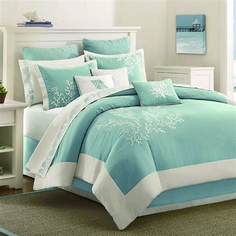 Coastal Style Bedroom With Light Blue Embroidered Queen