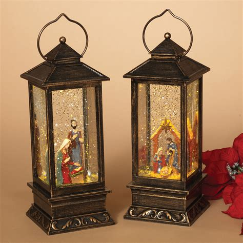 battery operated snow globes christmas set of 2 lantern nativity spinning water snow globe battery operated ebay