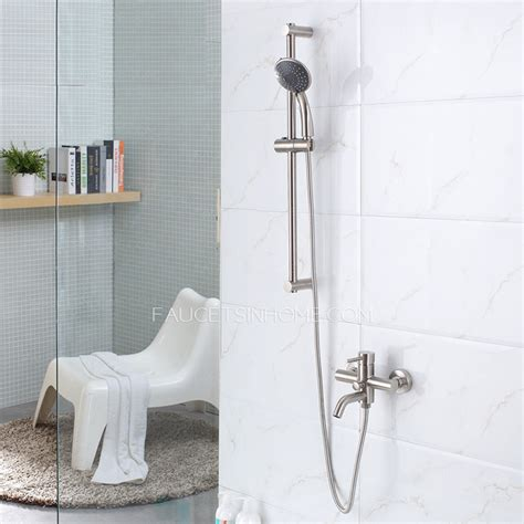 modern stainless steel exposed shower  bath faucets