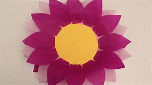 How to make Paper Plate and Tissue Paper Flower - YouTube
